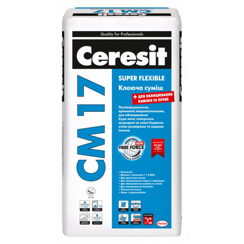 Високоеластичний клей для плитки Ceresit СМ 17, мішок  25 кг.