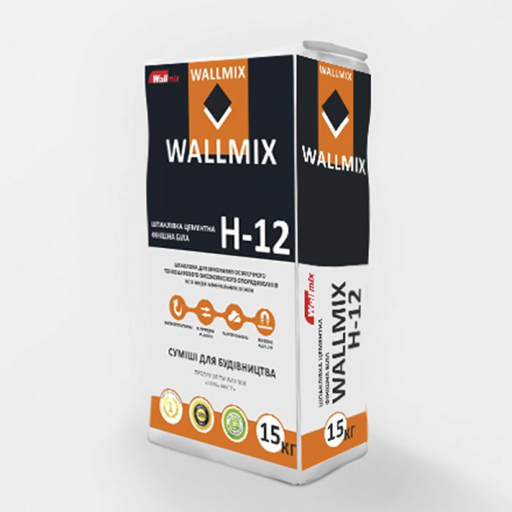 Шпаклівка цементна фінішна біла Wallmix H-12, 25 кг